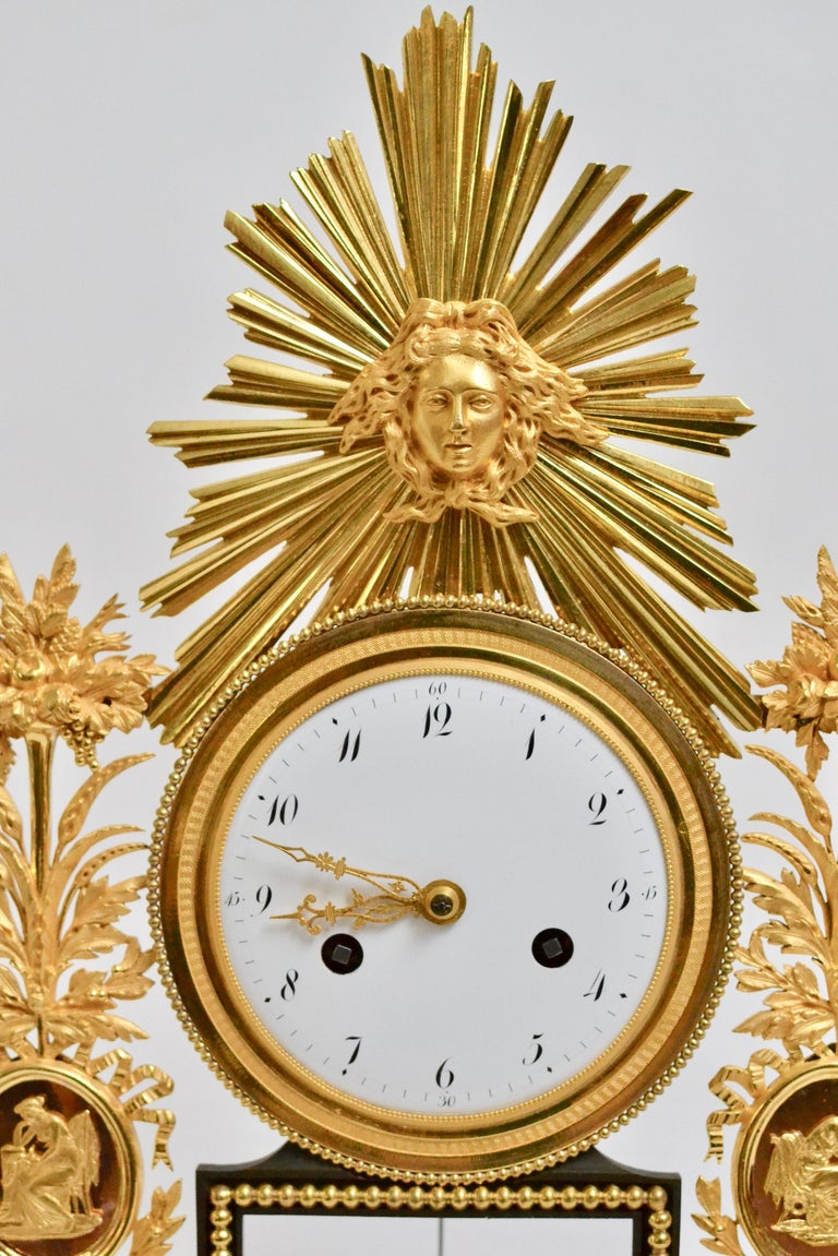 French Louis XVI Gilt Bronze and Marble Mantel Clock, 18th Century For Sale