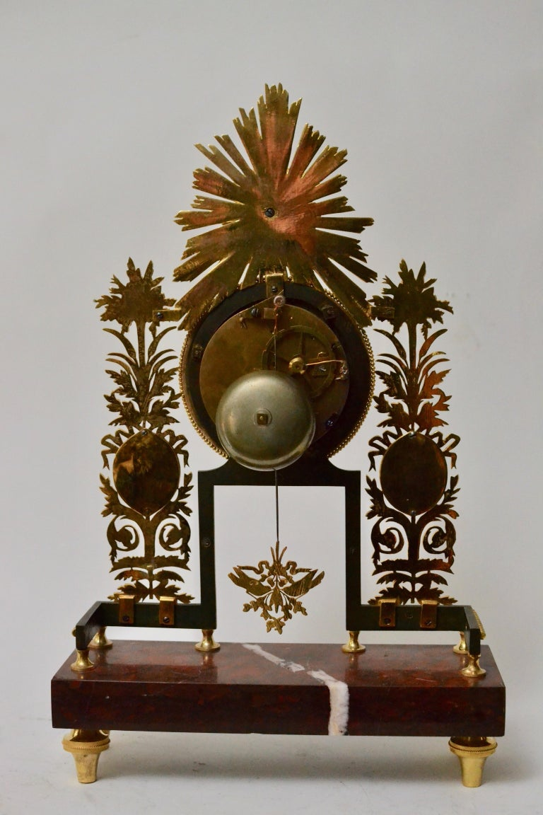Griotte Marble Louis XVI Gilt Bronze and Marble Mantel Clock, 18th Century For Sale
