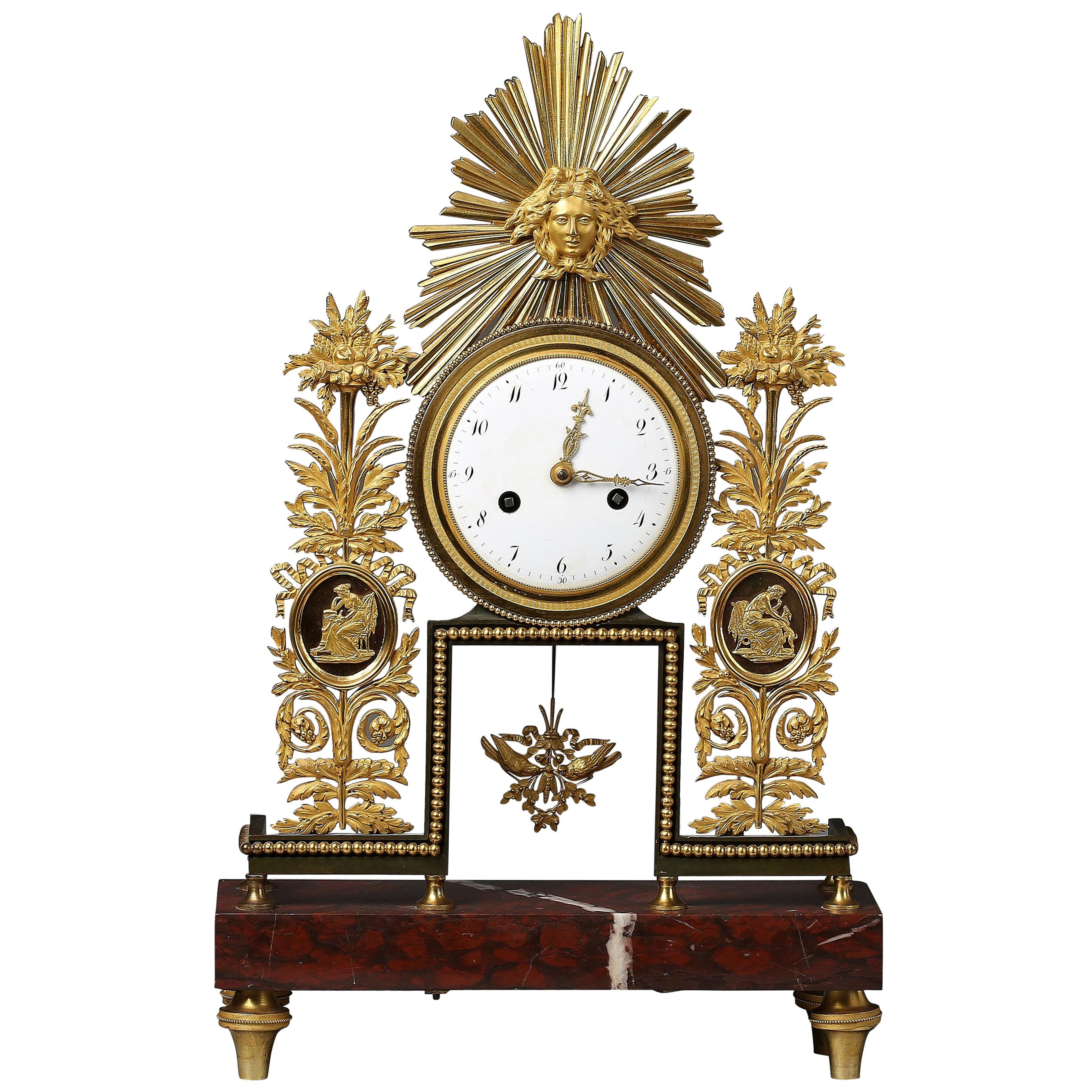 Louis XVI Gilt Bronze and Marble Mantel Clock, 18th Century