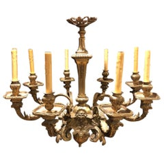 Louis XVI Gilt Bronze Eight Light Chandelier