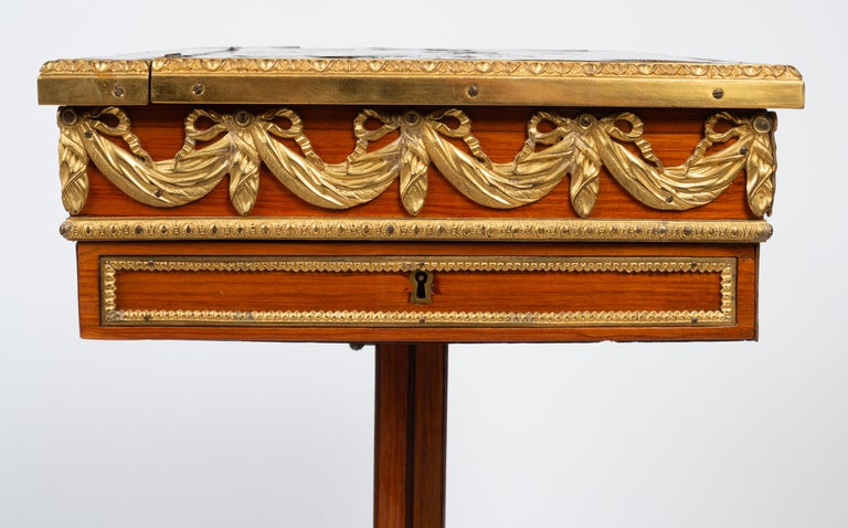Louis XVI Gilt Bronze Tulipwood and Lacquer Mechanical Table Stamped Dautriche For Sale 5