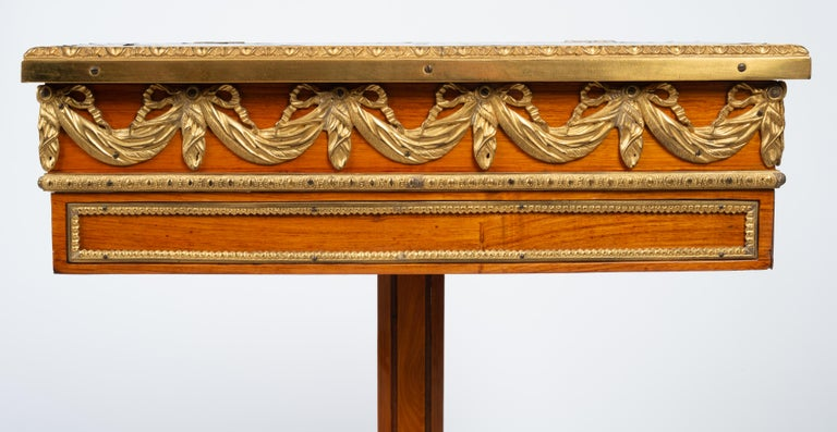 Louis XVI Gilt Bronze Tulipwood and Lacquer Mechanical Table Stamped Dautriche For Sale 6
