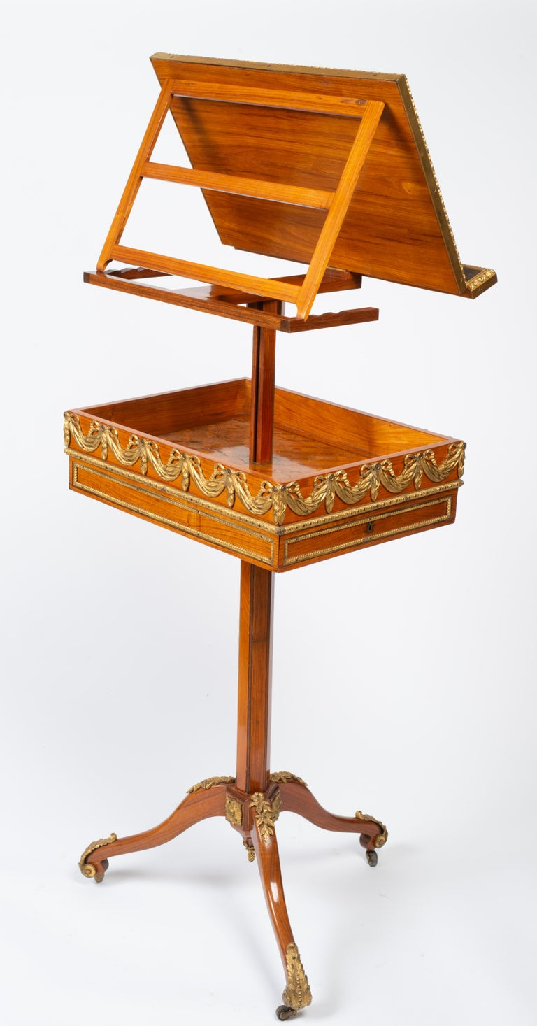 French Louis XVI Gilt Bronze Tulipwood and Lacquer Mechanical Table Stamped Dautriche For Sale