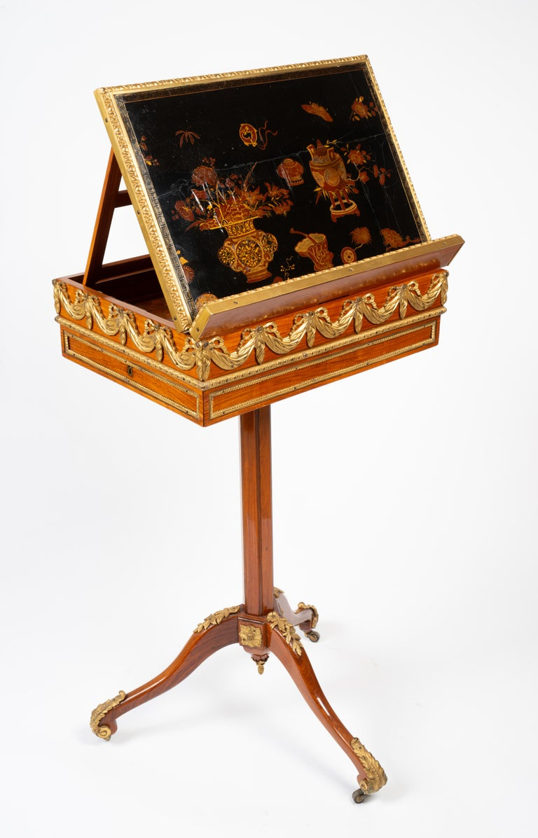 Louis XVI Gilt Bronze Tulipwood and Lacquer Mechanical Table Stamped Dautriche In Good Condition For Sale In Boston, MA