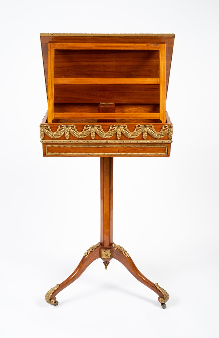 Louis XVI Gilt Bronze Tulipwood and Lacquer Mechanical Table Stamped Dautriche For Sale 1
