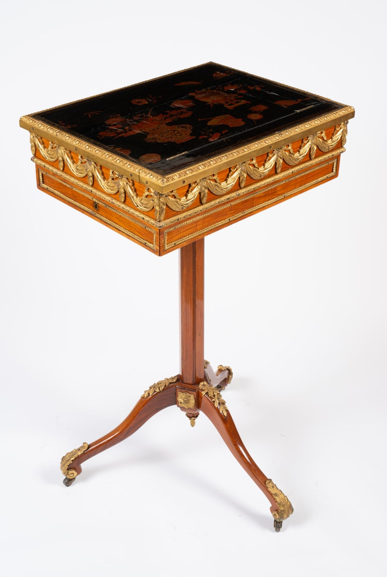 Louis XVI Gilt Bronze Tulipwood and Lacquer Mechanical Table Stamped Dautriche For Sale 2