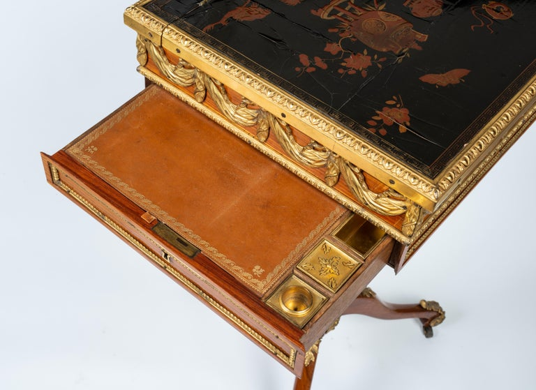Louis XVI Gilt Bronze Tulipwood and Lacquer Mechanical Table Stamped Dautriche For Sale 3