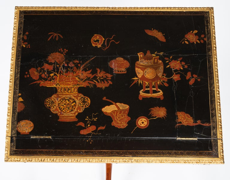 Louis XVI Gilt Bronze Tulipwood and Lacquer Mechanical Table Stamped Dautriche For Sale 4
