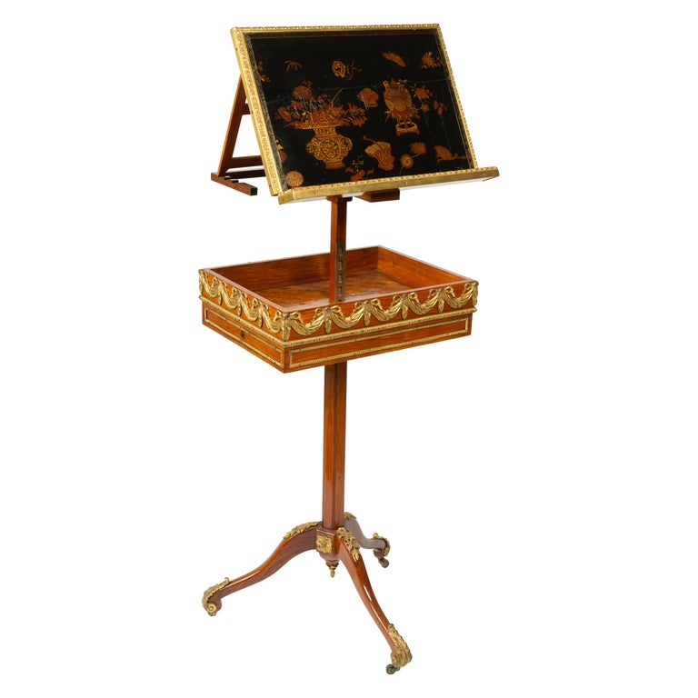 Louis XVI Gilt Bronze Tulipwood and Lacquer Mechanical Table Stamped Dautriche For Sale