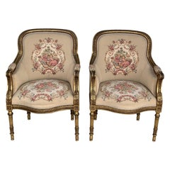 Louis XVI Giltwood Bergère Armchairs with Original Fabric, circa 1800