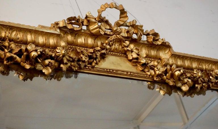 Louis XVI style gold leaf mirror.  Origin: France, circa 1790.   Measurements: 48
