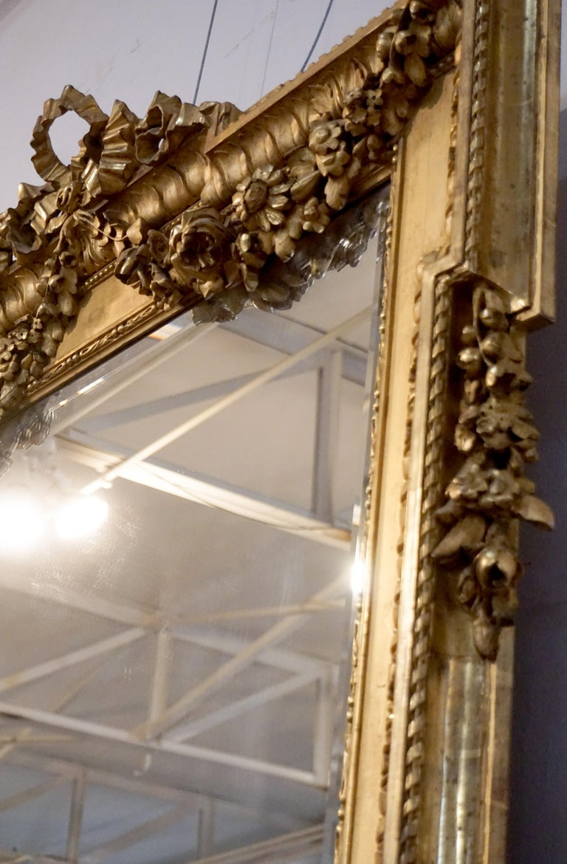 18th Century Louis XVI Gold Leaf Mirror For Sale