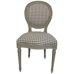 Louis XVI Grey Painted Oval Back French Chair with Grey Gingham Upholstery