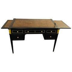 Louis XVI Hollywood Regency Ebony Desk Manner of Maison Jansen Bronze Mounted