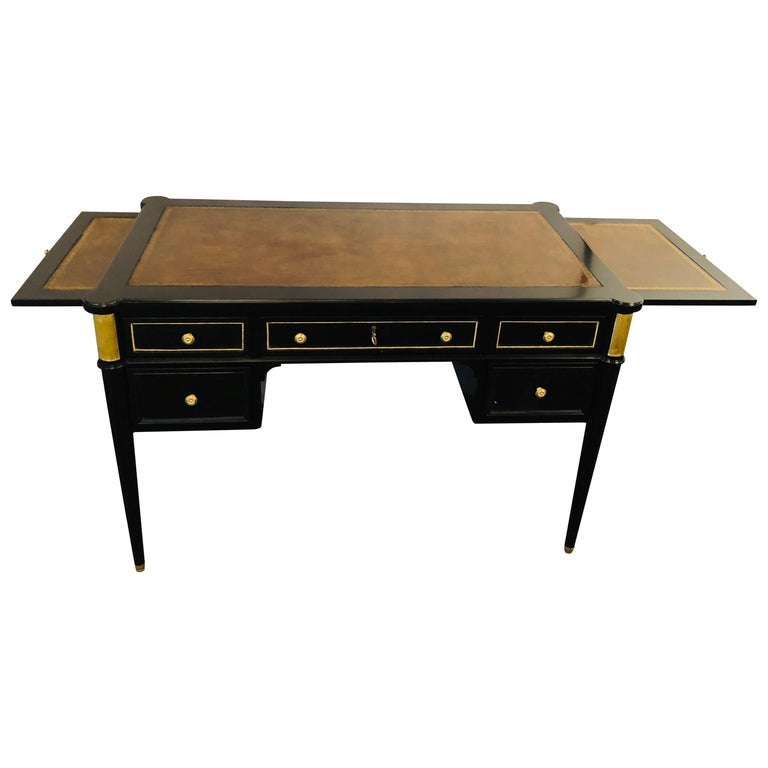 Louis XVI Hollywood Regency Ebony Desk Manner of Maison Jansen Bronze Mounted For Sale