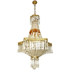 Louis XVI Hollywood Regency Empire Amber Crystal Basket & Gilt Bronze Chandelier