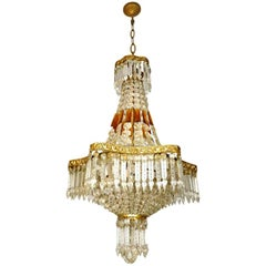 Louis XVI Hollywood Regency Empire Amber Crystal Basket & Gilt Bronze Chandelier