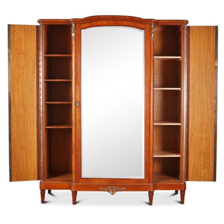 French Louis XVI Inlaid 3-Door Armoire For Sale