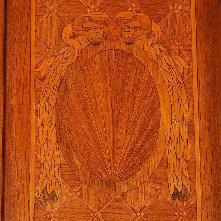 20th Century Louis XVI Inlaid 3-Door Armoire For Sale