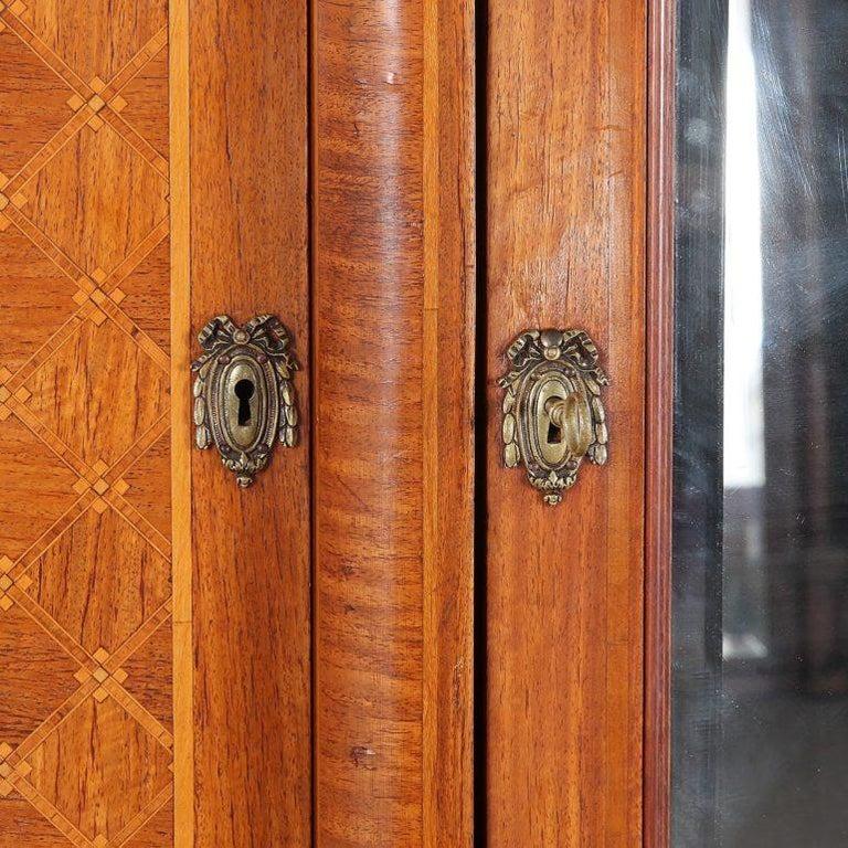 Brass Louis XVI Inlaid 3-Door Armoire For Sale