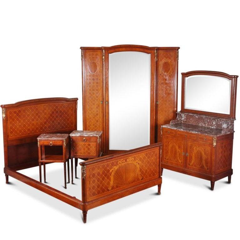 Louis XVI Inlaid 3-Door Armoire For Sale 3