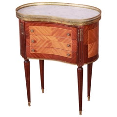 Louis XVI Kidney Shape Marble-Top Side Table or Nightstand by Soriano España