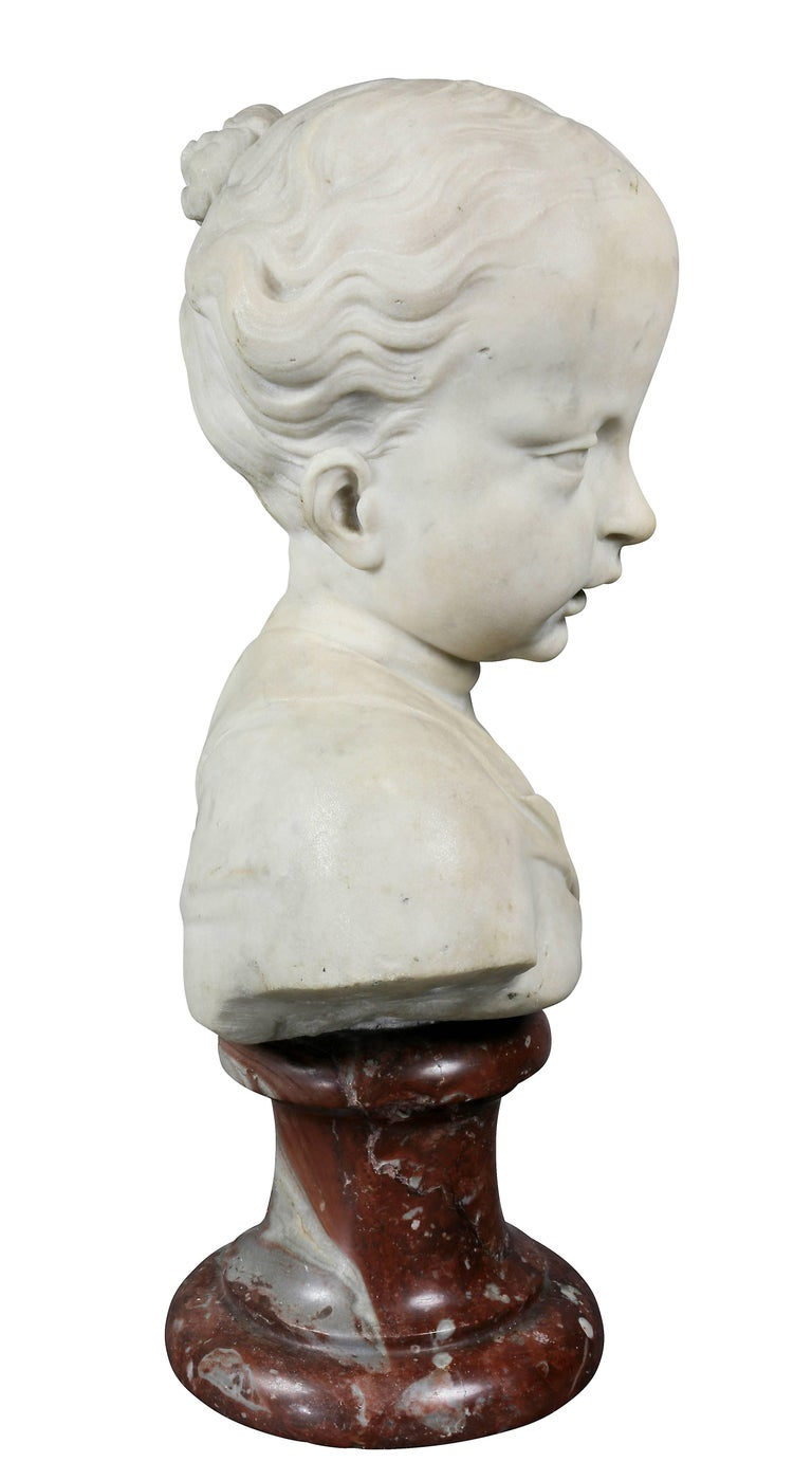 French Louis XVI Marble Bust of a Young Boy For Sale
