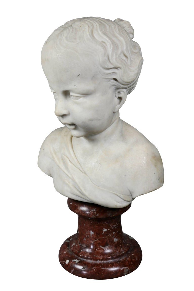 Louis XVI Marble Bust of a Young Boy In Good Condition For Sale In Essex, MA