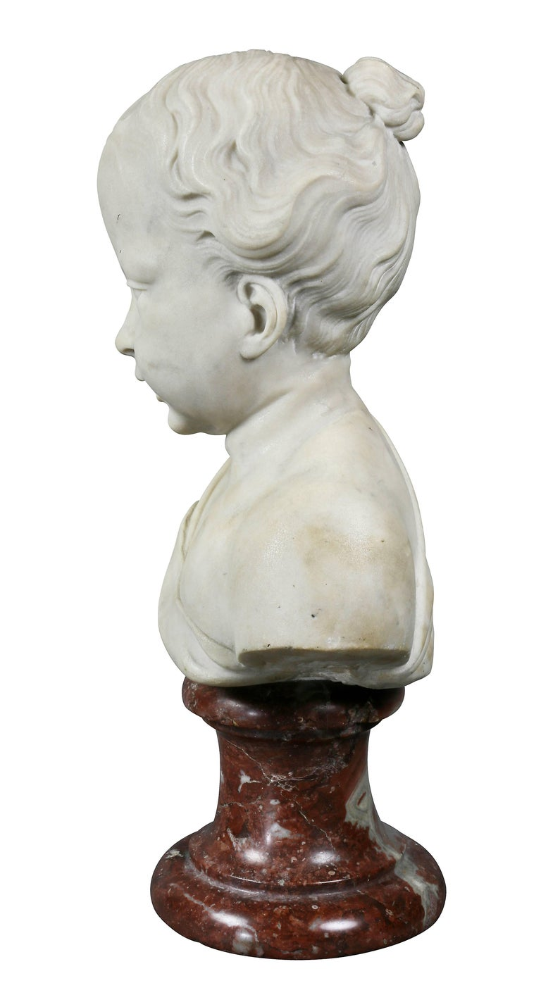 18th Century Louis XVI Marble Bust of a Young Boy For Sale