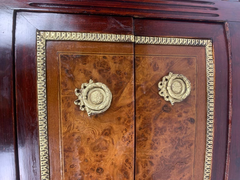 Louis XVI Marble-Top and Bronze Demilune Commode Chest For Sale 5
