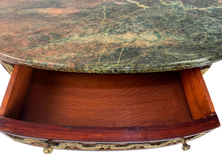 Louis XVI Marble-Top and Bronze Demilune Commode Chest In Good Condition For Sale In West Hartford, CT