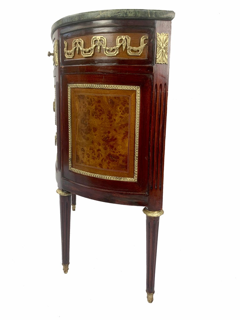20th Century Louis XVI Marble-Top and Bronze Demilune Commode Chest For Sale