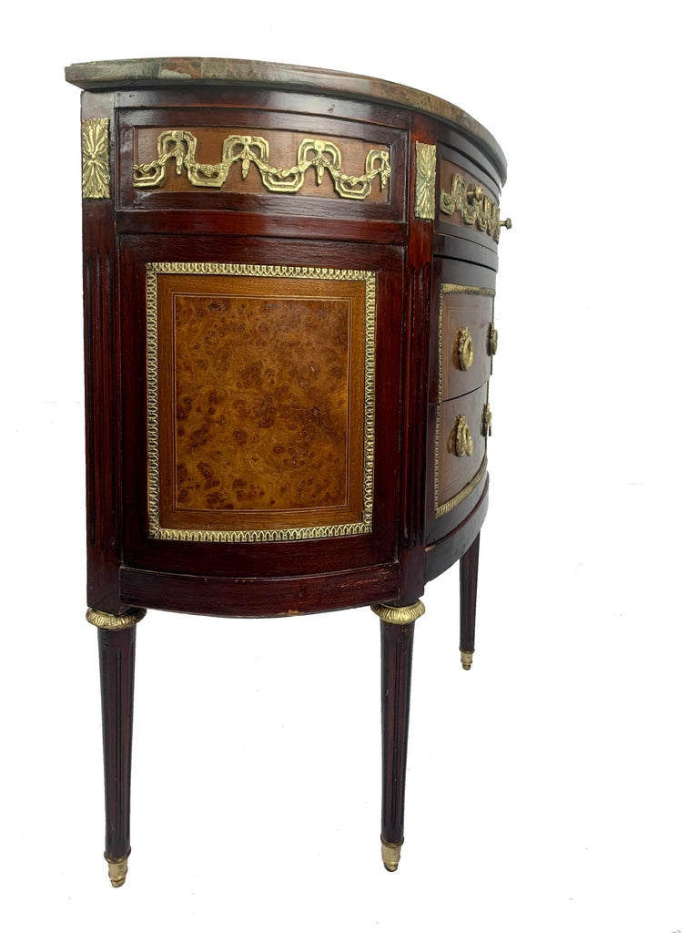 Louis XVI Marble-Top and Bronze Demilune Commode Chest For Sale 2