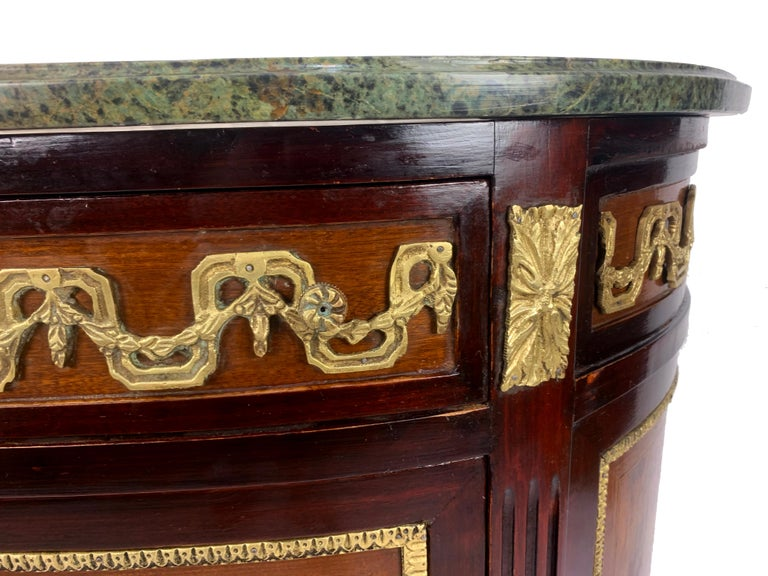 Louis XVI Marble-Top and Bronze Demilune Commode Chest For Sale 3