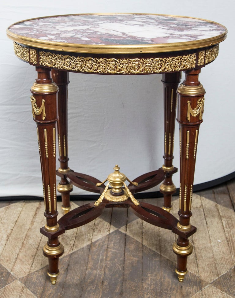 20th Century Louis XVI Marble Topped Center Table, End Table or Gueridon For Sale