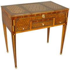 18th Century Louis XVI Geometrical Marquetry Dressing Table or 'Perruquiere'