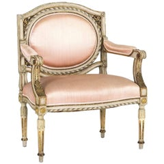 Louis XVI Massive Hardwood Carved Armchair, Pink Fabric
