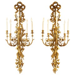Louis XVI Neoclassical Monumental Carved Giltwood Wall Sconces with Trophies