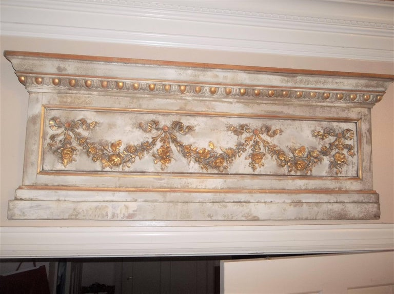Louis XVI Neoclassical Style Paint and Giltwood Boiserie Overdoor Panel For Sale 8