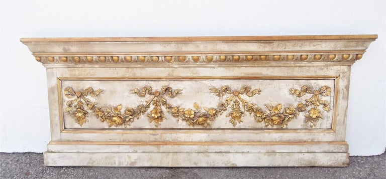 Louis XVI Neoclassical Style Paint and Giltwood Boiserie Overdoor Panel For Sale 11