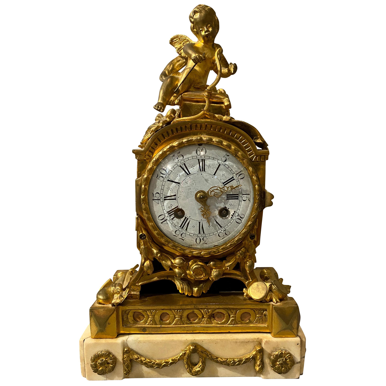 Louis XVI Ormolu and Marble Mantle Clock