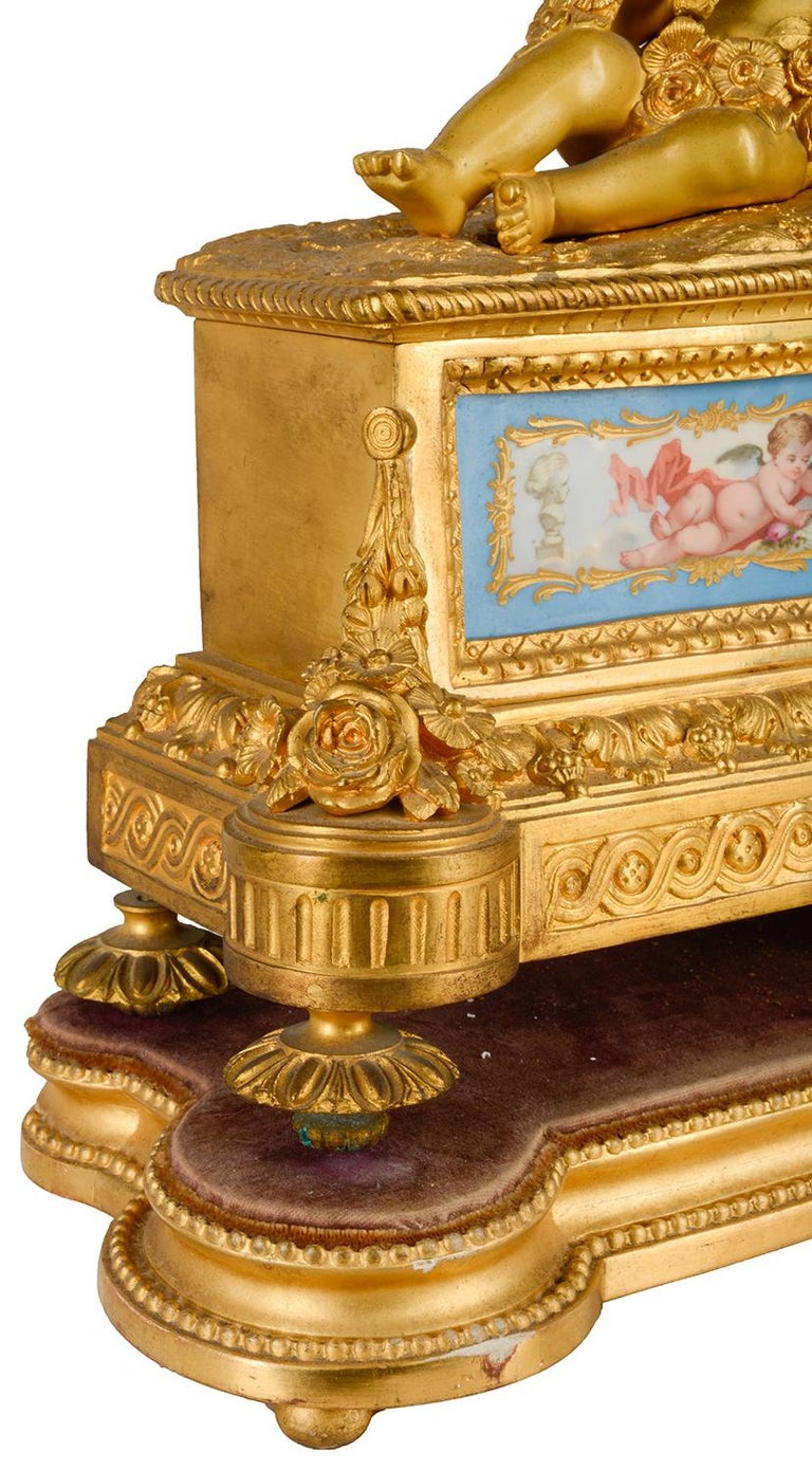 Louis XVI, Ormolu and Sevres Style Mantle Clock, 19th Century For Sale 5