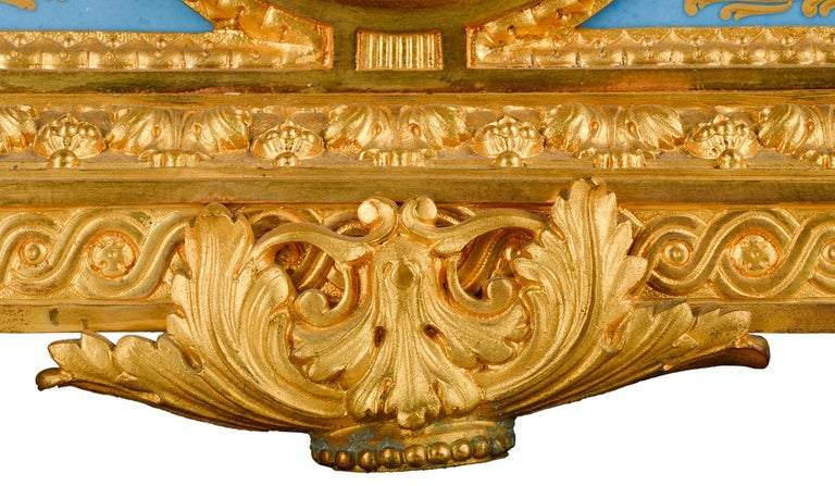 Louis XVI, Ormolu and Sevres Style Mantle Clock, 19th Century For Sale 6