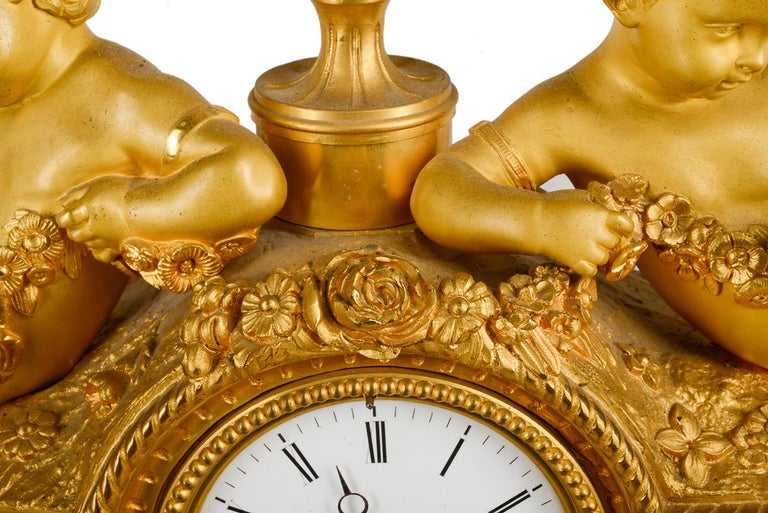 Gilt Louis XVI, Ormolu and Sevres Style Mantle Clock, 19th Century For Sale