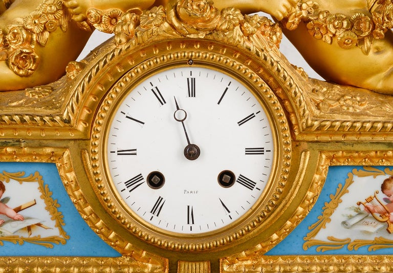 Louis XVI, Ormolu and Sevres Style Mantle Clock, 19th Century For Sale 1