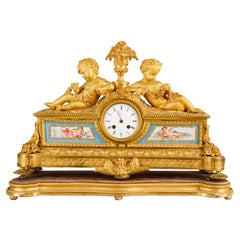 Louis XVI, Ormolu and Sevres Style Mantle Clock, 19th Century