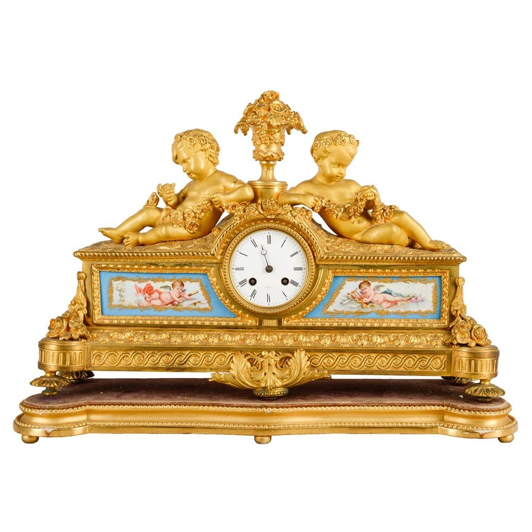 Louis XVI, Ormolu and Sevres Style Mantle Clock, 19th Century For Sale