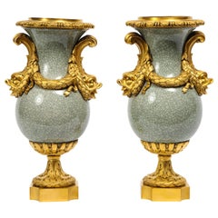 Louis XVI Ormolu-Mounted Chinese Celadon Crackle Vases with Dolphin Handles