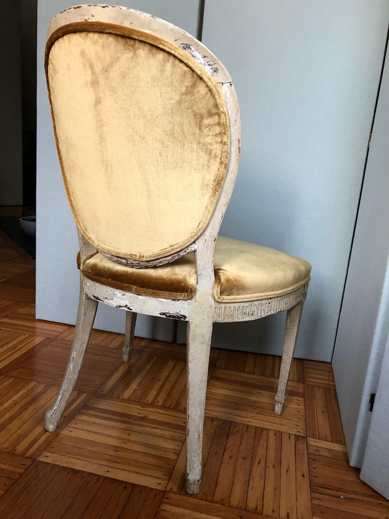 19th Century Louis XVI Oval Back Side or Dining Chair, New Silk Velvet, in Stock For Sale