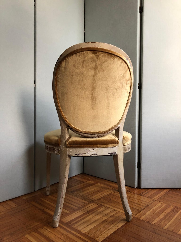Louis XVI Oval Back Side or Dining Chair, New Silk Velvet, in Stock For Sale 3